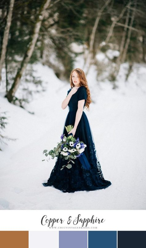 Copper  Sapphire Winter Wedding Colour Palette