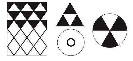 蛇にまつわる幾何学文様のパターン 左から 三角文を基本として菱形に