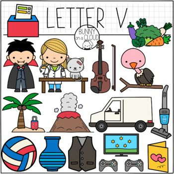 Hello This Contains Images For 15 Words That Start With The Letter V Or Get This As Part Of The Alphabet Clipart Mega Alphabet Clipart Letter V Alphabet
