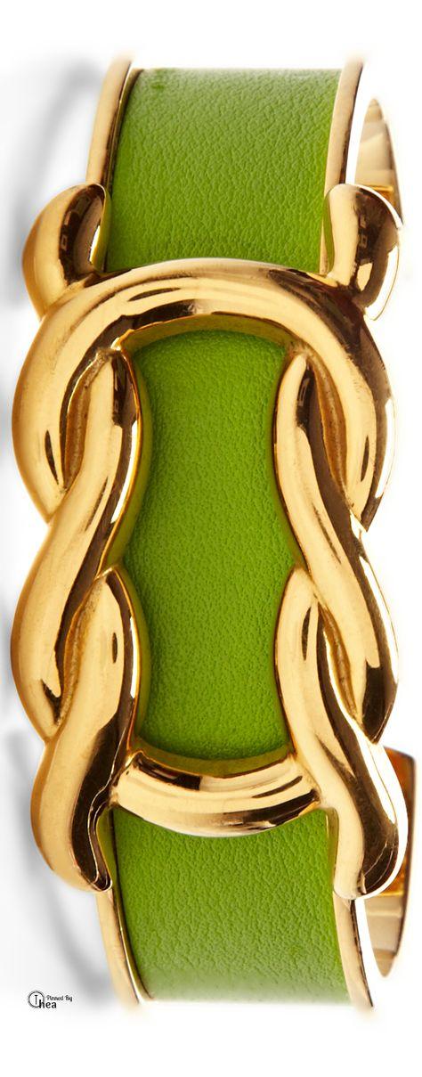 Hermes  Vert Cru Gulliver Leather Bracelet lbv