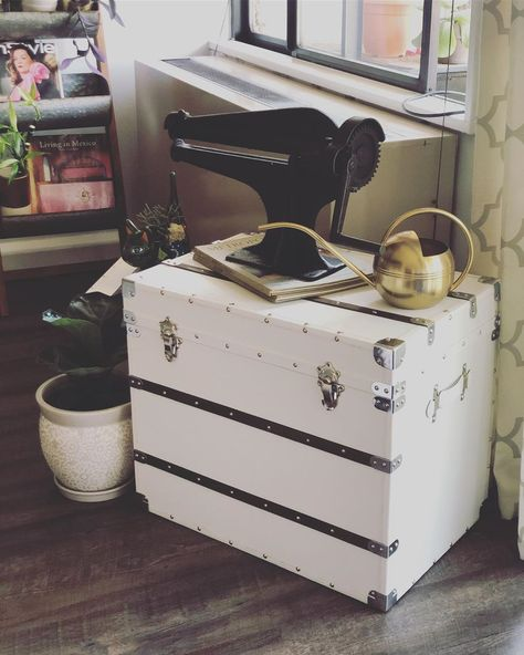 #storage trunks for the #livingroom from @homegoods  Great spot for my very old #leathercutter from #1915 !