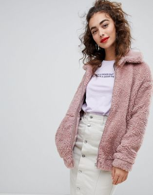 New Look Teddy Faux Fur Bomber Jacket | Teddy | Fur bomber