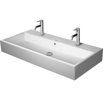 Duravit 2350100024 White Vero Air 40 Rectangular Ceramic Wall Mounted Bathroom Sink With Overflow And 2 Single Faucet Hole Stations Duravit Sink Wall Mounted Bathroom Sinks