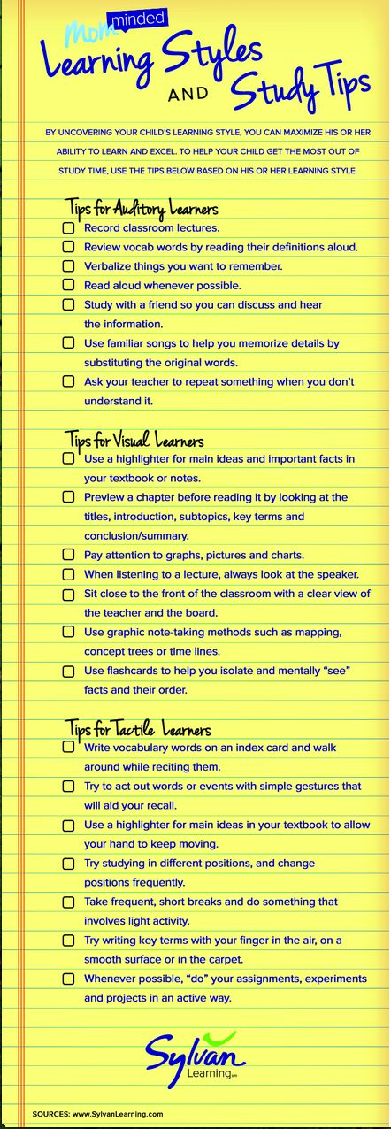 Learning Styles and Study Tips (Infograph)
