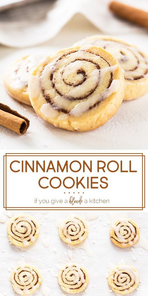 Cinnamon Roll Cookies- Cinnamon Roll Cookies Save Images Cinnamon roll cookies are perfect for the holidays! Th slice and bake recipe makes cookies that taste just like the breakfast pastry with a drizzle of icing. Easy Cookie Recipes, Baking Recipes, Dessert Recipes, Holiday Cookie Recipes, Meal Recipes, Cake Recipes, Breakfast Recipes, Cinnamon Roll Cookies, Yummy Cookies