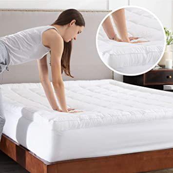 Amazon Com Bedsure Pillow Top Mattress Topper Queen Size 2 Inch Quilted Mattress Topper With 430gsm Fluffy Down Al In 2020 Pillow Top Mattress Mattress Pad Pillow Top