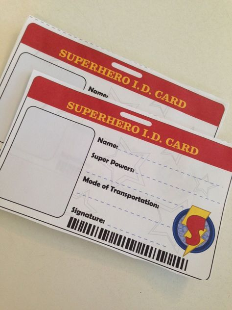 Superhero Id Cards Or Badge Template For Library Card Sign Up Month Staff Photos And Hang As Streamer Superhero Birthday Party Superhero Birthday Superhero