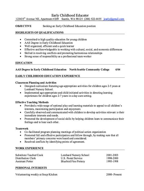 Early Childhood Educator Resume Samples -   resumesdesign