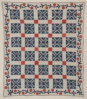 Wild Goose Chase Quilt with Applique Border;Ca.1850;NY, Stella Rubin