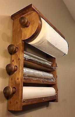 Kitchen Cling Film Tin Foil Paper Towel Holder Roll Storage Wall Mount Rack DE
