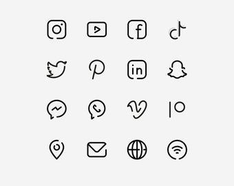 White Social Media Icons. Minimalist Social Media Logos. Simple Line Icons: Instagram, YouTube, Face