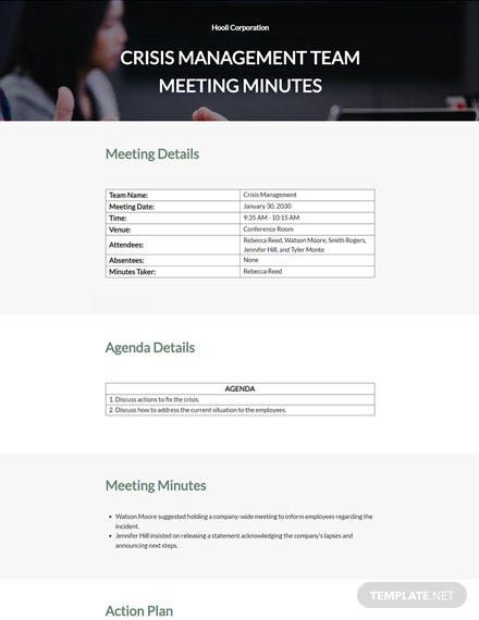 Crisis Management Team Meeting Minutes Template Word Doc Templates Management