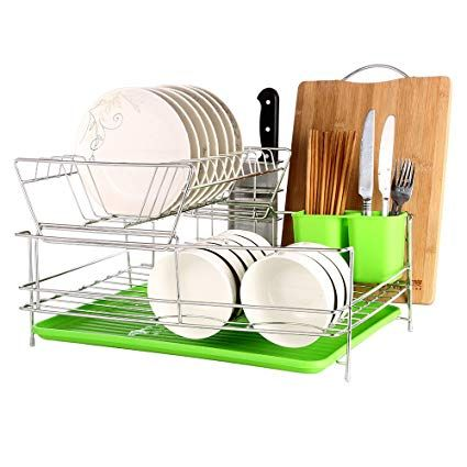 Okdeals 2 Tier Stainless Steel Dish Drying Rack With Tray Enamel Utensil Holder Plates Organizer Drainer With Dish Rack Drying Plate Organizer Kitchen Counter