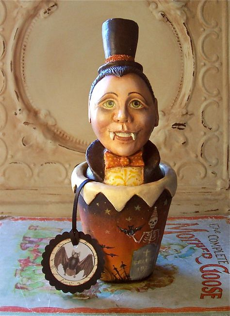Thurston Youngblood Folk Art One of a kind Halloween candy container