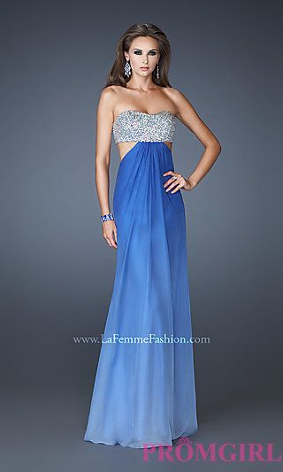80cf4b6c89c Long Strapless Ombre Gown with Side Cut Outs by La Femme at PromGirl ...