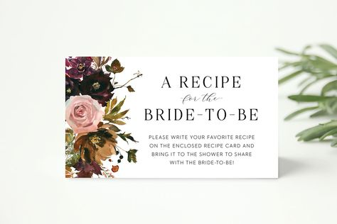 recipe request card // recipe for the bride, autumn fall bridal shower, floral, winter, burgundy floral, invitation insert