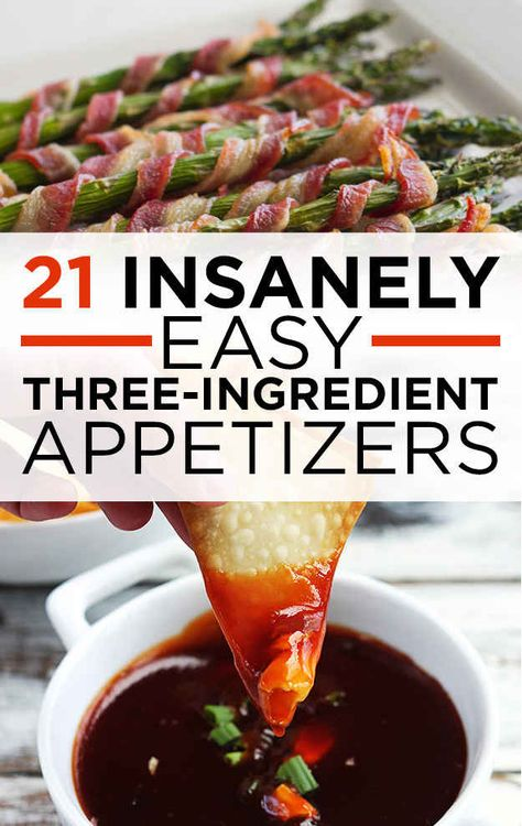 21 Easy Appetizers With Three Ingredients Or Less. String cheese mozzarella cheessticks. Bacon, cheese poppers.