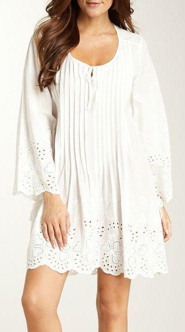 Pintuck Scoop Neck Tunic Dress