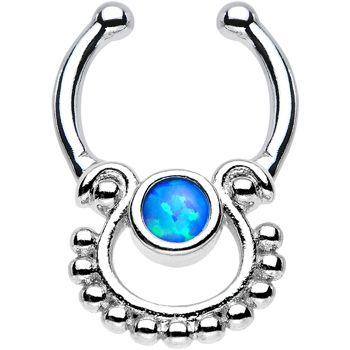 Blue Opal Egyptian Goddess Non Pierced Clip On Septum Ring Body