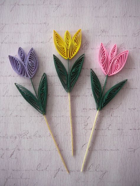 Paper Quilled Easter Tulip Flower Cupcake Topper Table Decorations Scrapbook Embellishments