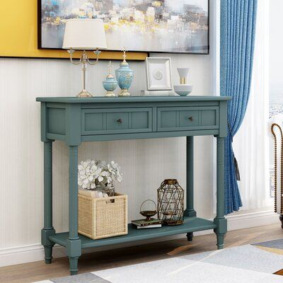Highland Dunes Morais 35 43 Console Table Wood Sofa With Drawers - Simple Living Emilia Blue Sofa Table