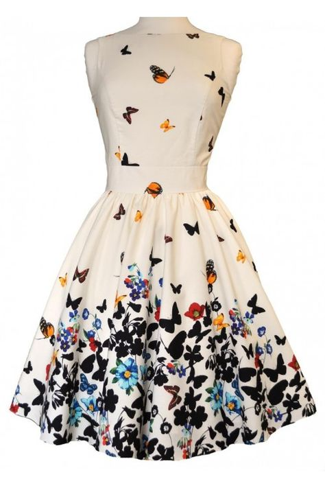 Lady Vintage 50s White Butterfly Tea Dress : Lady Vintage Jurken - Retro en Vintage kleding online