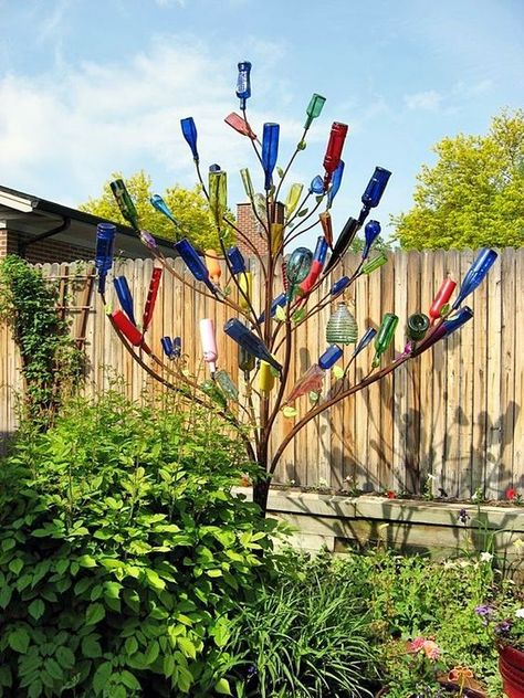 Intelligent Ways to Use Your Old Wine Bottles can find Bottle trees and more on our website.Intelligent Ways to Use Your Old Wine Bottles Wine Tree, Wine Bottle Trees, Old Wine Bottles, Wine Bottle Art, Wine Bottle Crafts, Glass Bottles, Wine Bottle Garden, Bottle Wall, Beer Bottle