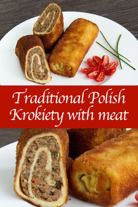 Traditional Polish Croquettes with meat Recipe & video how to make traditional Polish Krokiety with meat. Traditional Polish Croquettes with meat Recipe & video how to make traditional Polish Krokiety with meat. Meat Recipes, Mexican Food Recipes, Cooking Recipes, Ethnic Recipes, Recipies, Ukrainian Recipes, Russian Recipes, Slovak Recipes, Czech Recipes