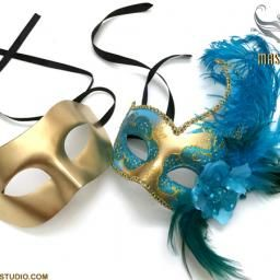 Aqua Turquoise Masquerade Ball Mask Couple Pair Graduation Prom Party White Masquerade Mask Masquerade Party Masquerade Costumes