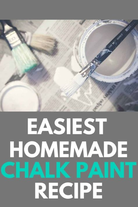 Looking for a EASY and inexpensive way to make chalk paint? Try this super simple homemade chalk paint recipe. Diy Chalk Paint Recipe, Make Chalk Paint, Chalk Paint Cabinets, Homemade Chalk Paint, Chalk Paint Projects, Chalk Paint Furniture, Painting Cabinets, Diy Furniture, Homemade House Furniture