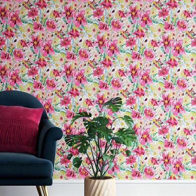 Find Product Information Ratings And Reviews For Antheron Floral Peel Stick Removable Wallpaper Pink O Opalhouse Pink Floral Wallpaper Removable Wallpaper