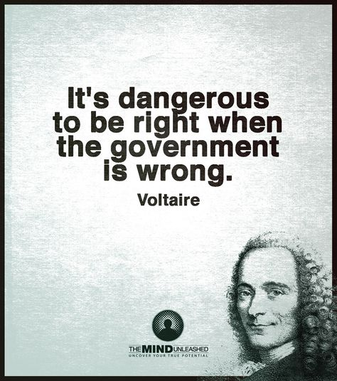 """""""It's dangerous to be right when the government is wrong"""" - Voltaire via QuotesPorn on March 20 2018 at Wise Quotes, Quotable Quotes, Famous Quotes, Words Quotes, Great Quotes, Wise Words, Quotes To Live By, Motivational Quotes, Inspirational Quotes"""