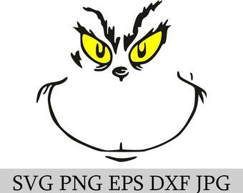 Svg File Etsy Grinch Face Svg Grinch Characters Silhouette Vinyl Cutter