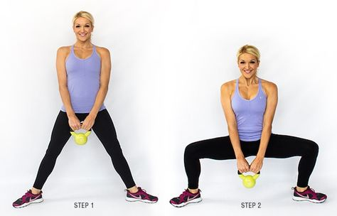 plie kettlebell squat 3-6 sets, 10-15 reps  Hold at the bottom for 2 seconds, come up with control.