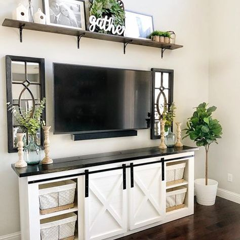 Farmhouse Living Room Barn Door Tv Console Popular Living Room