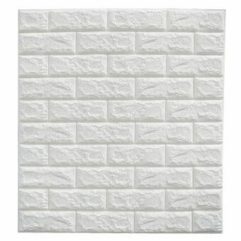 Dodoing 5pc Wallpaper 3d Brick Wallpaper Removable Peel And Stick Pe Wallpaper For Living Room Bedroom Background Wall Decoration White 23 6in X 11 8in Wal Stone Wall Panels Wall Stickers Wallpaper