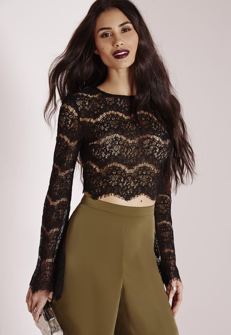 cb4d9f04cd Lace Bell Sleeve Crop Top Black - Lace - Crop - Tops - Missguided ...