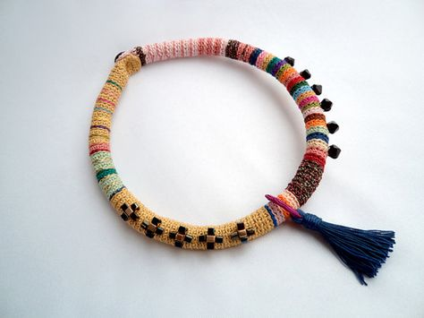 Colorful fiber necklace with beads and tassel