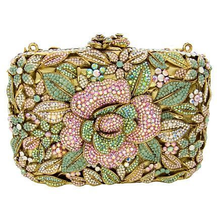 Champagne Pink Fully Beaded Handbag Clutch Two Uses Designer Rose Lots Available