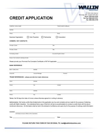 Business Credit Application Form Credit Applications Legal