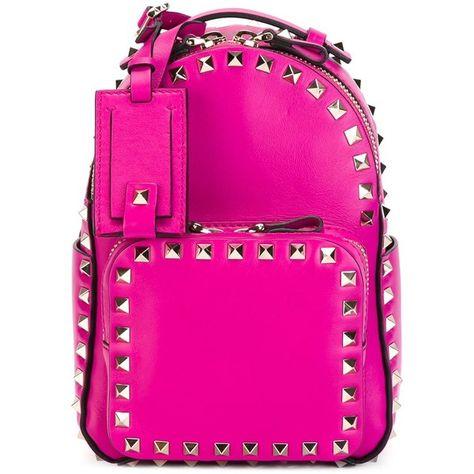 c809ea58dd VALENTINO GARAVANI mini 'Rockstud' backpack ($2,175) ❤ liked on Polyvore  featuring bags, backpacks, miniature backpack, handle bag, pink backpack,  ...
