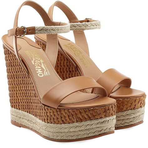 5725f37c356 Salvatore Ferragamo Leather Espadrille Wedges ( 675) found on Polyvore  featuring shoes