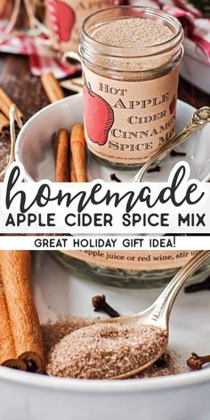 This recipe for homemade Hot Apple Cider Cinnamon Spice Mix is amazing! It's easy to make with few ingredients and makes for a perfect DIY Thanksgiving hostess or Christmas food gift. Stir into hot ap Homemade Dry Mixes, Homemade Apple Cider, Hot Apple Cider, Homemade Spices, Homemade Seasonings, Apple Juice, Apple Cider Mix Recipe, Fruit Juice, Apple Recipes