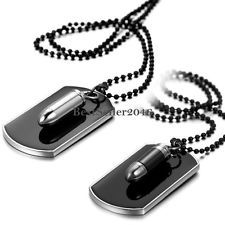 Army Military Bullet Black DOG TAG Pendant Necklace Bead Chain MEN'S Jewelry | eBay