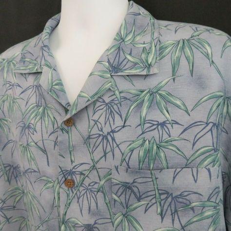 a3d56e71 Tommy Bahama Silk Mens L Blue Green Bamboo Hawaiian Aloha Shirt  #TommyBahama #Hawaiian
