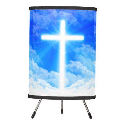 Cross Of Light Jesus Christ Customizable Christian Tripod Lamp Zazzle Com Tripod Lamp Jesus Christ Linen Lamp Shades