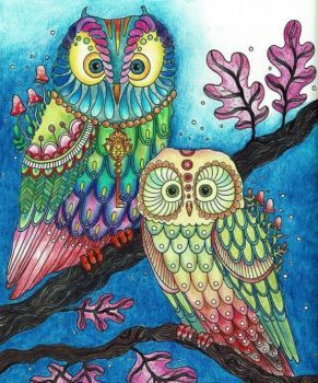 Owl Coloring Pages Already Colored Owl Coloring Pages Already Colored Dbest Coloring Pages In Owl Coloring Pages From Stress Relief Adult Coloring Color Creative Haven Owls Coloring Book By