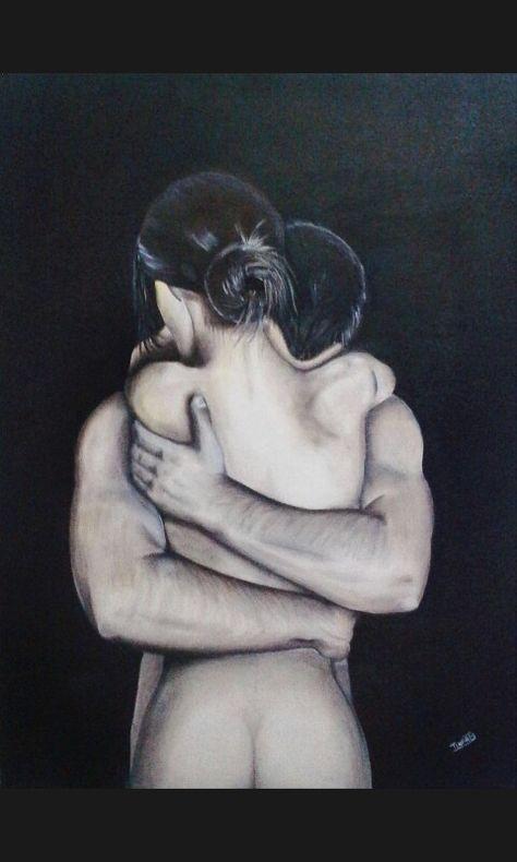 Os abraços foram feitos para expressar o que as palavras deixam a desejar. (Pintura á mão por tynarts