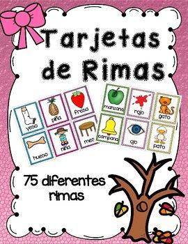 Targetas De Rimas Rhyming Words Cards In Spanish Tarjetas Palabras Que Riman Rimas En Espanol