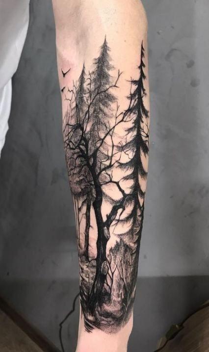 Tree Tattoo Designs Forearm 54 Ideas Tree Sleeve Tattoo Forest Tattoos Cool Forearm Tattoos